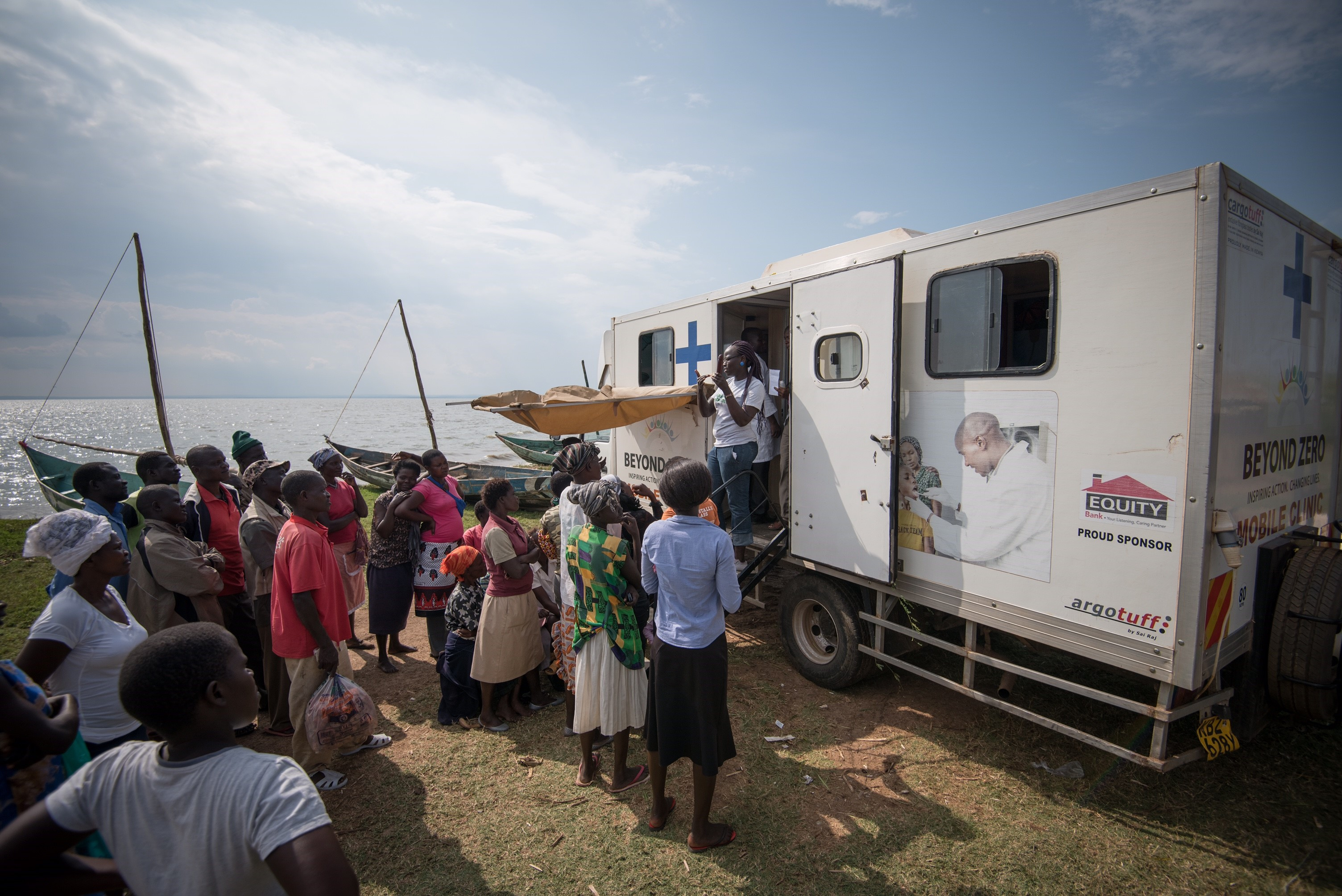 A line outside a mobile health clinic in Kenya. Source: Enabling Sustainable Health Equity (ESHE) Project