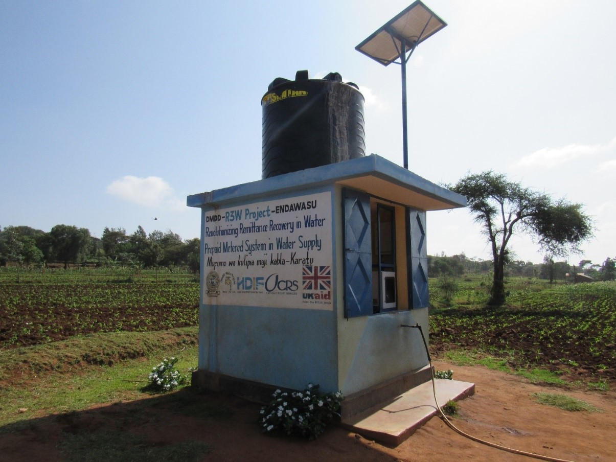 The AQTap water dispenser, housed in a kiosk and solar powered. Source: HDIF