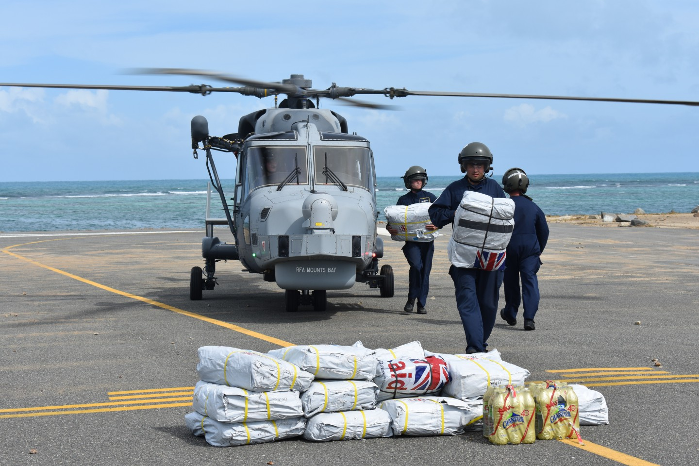 The UK, with Palladium's support, delivered food, hygiene kits, shelter kits and water to victims of Hurricane Irma in the Caribbean. Source: DFID